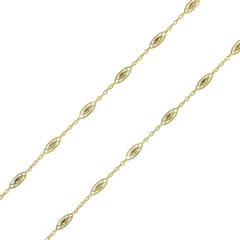 French 1920s Antique Gold Spindle Link Chain Necklace