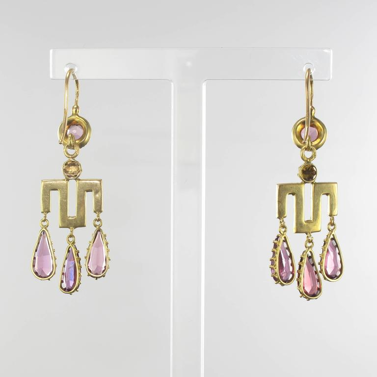 Women's French Louis-Philippe Fine Pearl Garnet Gold Earrings  For Sale