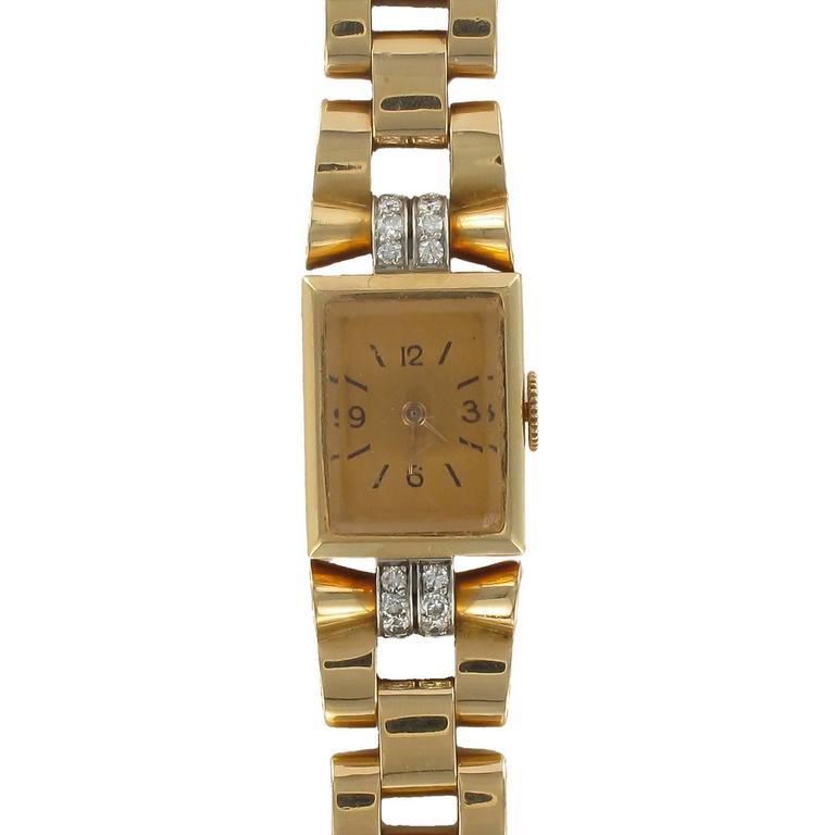 French Ladies Yellow Gold Diamond Retro Mechanical Wristwatch, 1940s