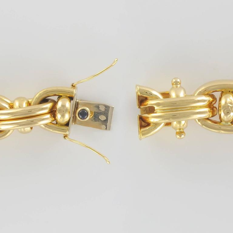 Women's 1970s French Caplain Bijoux Yellow gold anchor chain bracelet For Sale