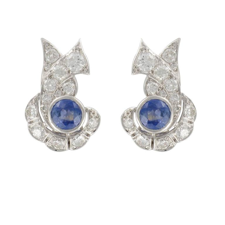 French Art Deco Sapphire and Diamond Earrings  For Sale