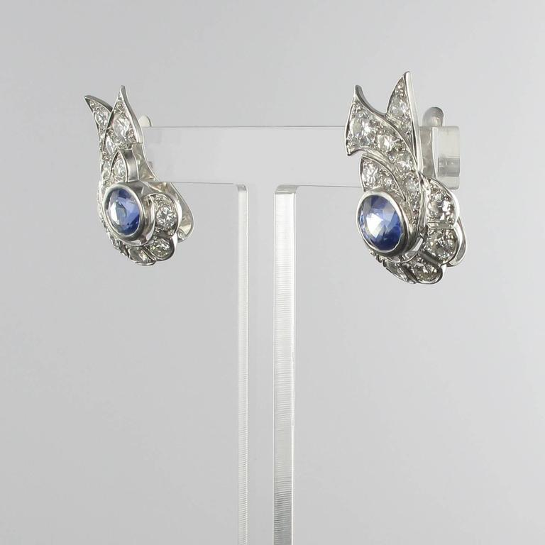 French Art Deco Sapphire and Diamond Earrings  In Excellent Condition For Sale In Poitiers, FR