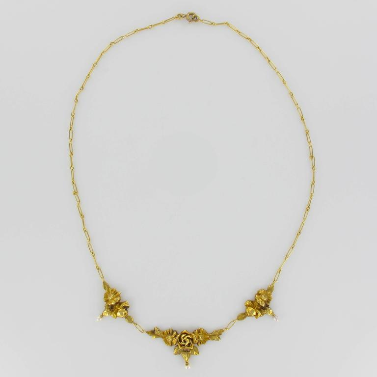 French 1900s Roses and Natural Pearl Gold Necklace  6