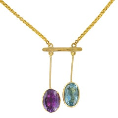 French 1950s Topaz and Amethyst Gold Lariat Necklace