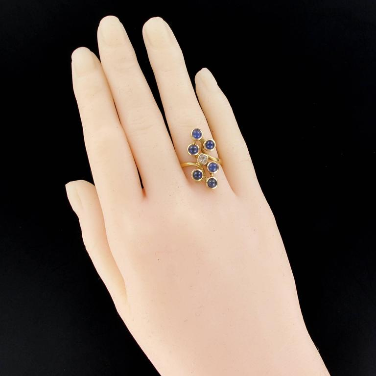 Cushion Cut 1970s Modernist Sapphire and Diamond Ring For Sale