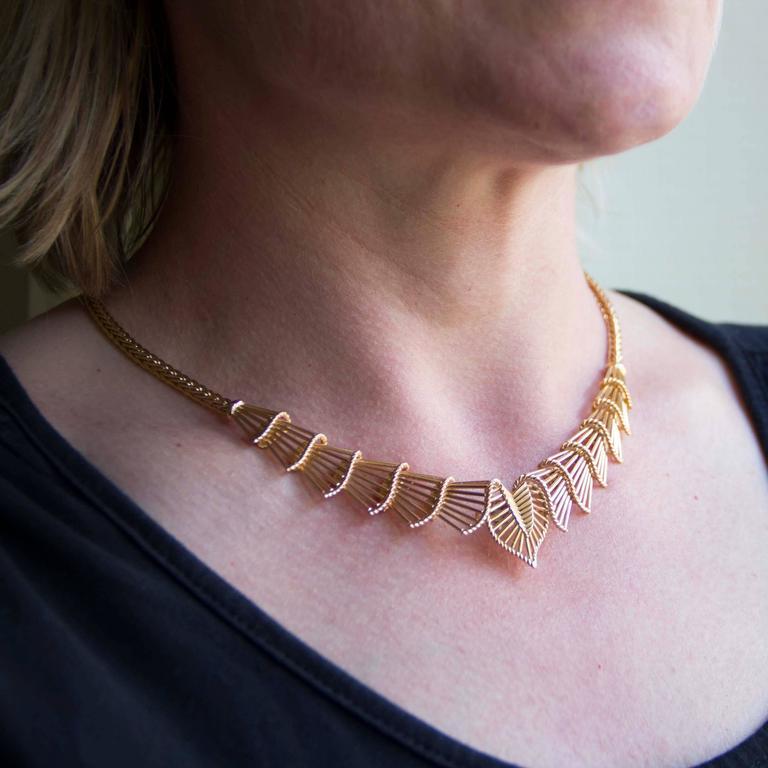 Retro Antique Gold Necklace For Sale