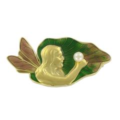 French Art Nouveau Enamel and Pearl Gold Brooch