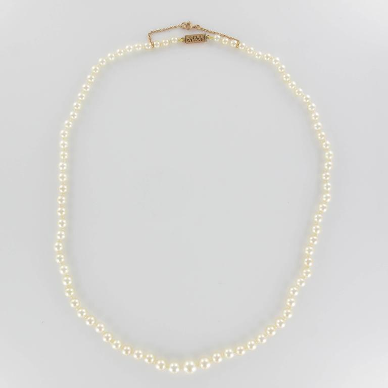 1950s Cultured Round White Pearl Necklace For Sale 2