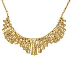 1960s French Gold Necklace with Radiant Motif