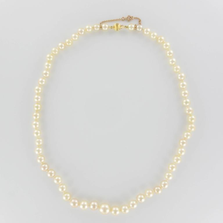 French 1950s Cultured Round White Pearl Necklace 6