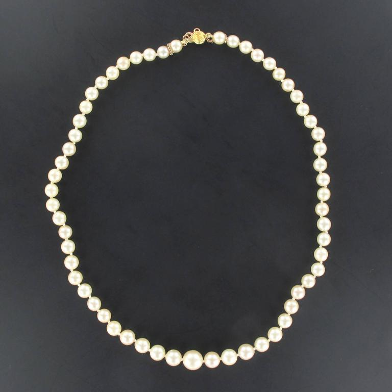 French 1950s Cultured Round White Pearl Necklace 2