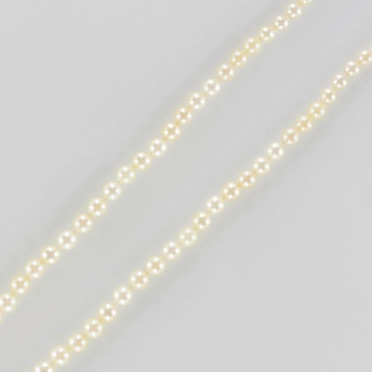 1950s Japanese Cultured Round White Pearl Necklace In New Condition For Sale In Poitiers, FR