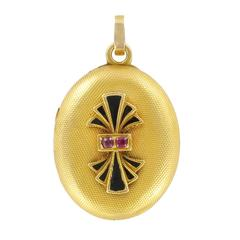 Napoleon III Oval Enamel and Ruby Medallion Locket Pendant