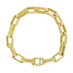 French Yellow Gold Engraved Belcher Chain Bracelet