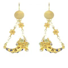 Italian Mat Vermeil Horns of Plenty Castelliani Spirit Chandelier Earrings