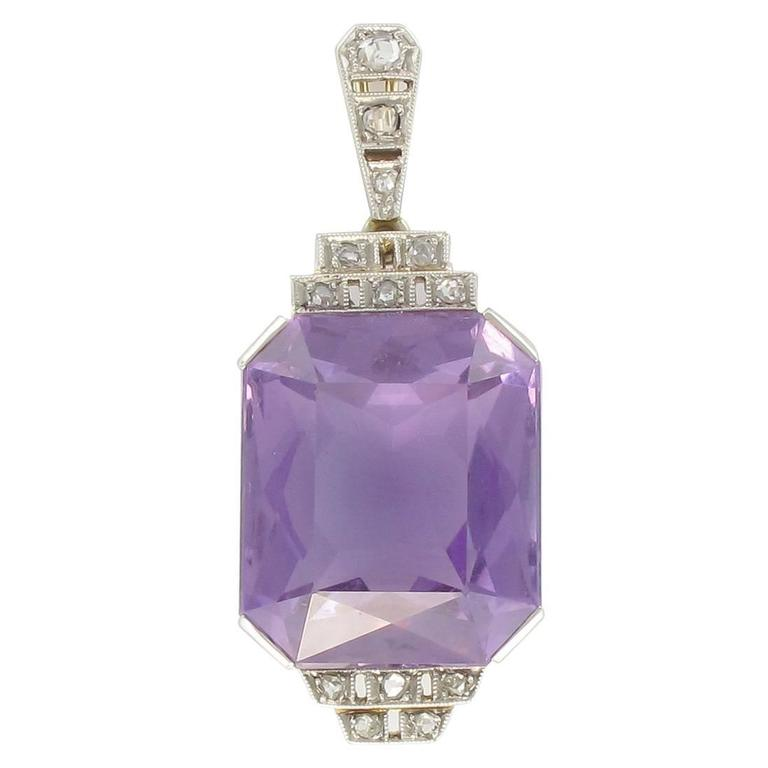 French Antique Art Deco Amethyst Diamond Platinum Pendant For Sale