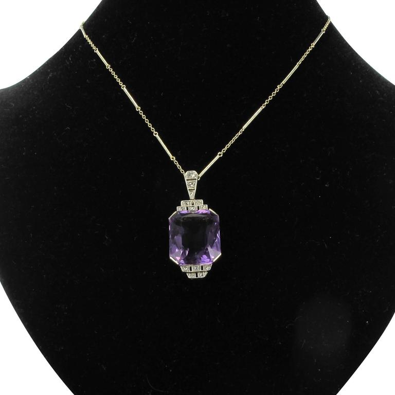 Women's French Antique Art Deco Amethyst Diamond Platinum Pendant For Sale