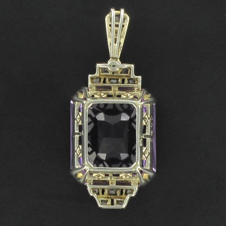 French Antique Art Deco Amethyst Diamond Platinum Pendant For Sale 1