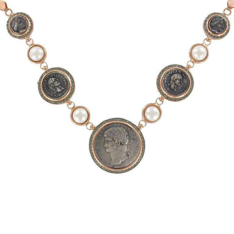 Italian Greek Style Vermeil Piece Crystal Pearl Necklace For Sale