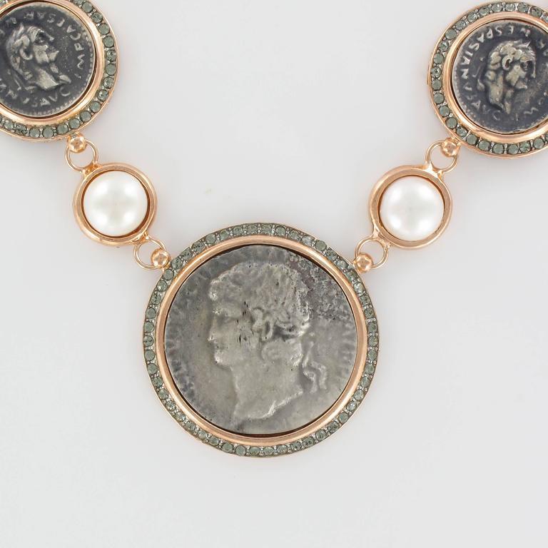 Women's Italian Greek Style Vermeil Piece Crystal Pearl Necklace For Sale
