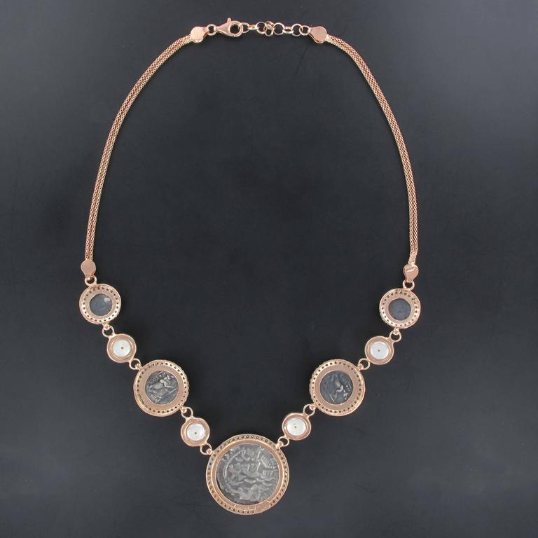 Italian Greek Style Vermeil Piece Crystal Pearl Necklace For Sale 1