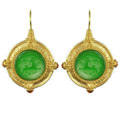 Italian Green Cameo Vermeil Drop Earrings