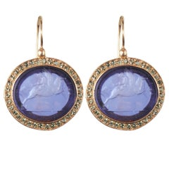 Italian Violet Intaglio Crystal Vermeil Drop Earrings