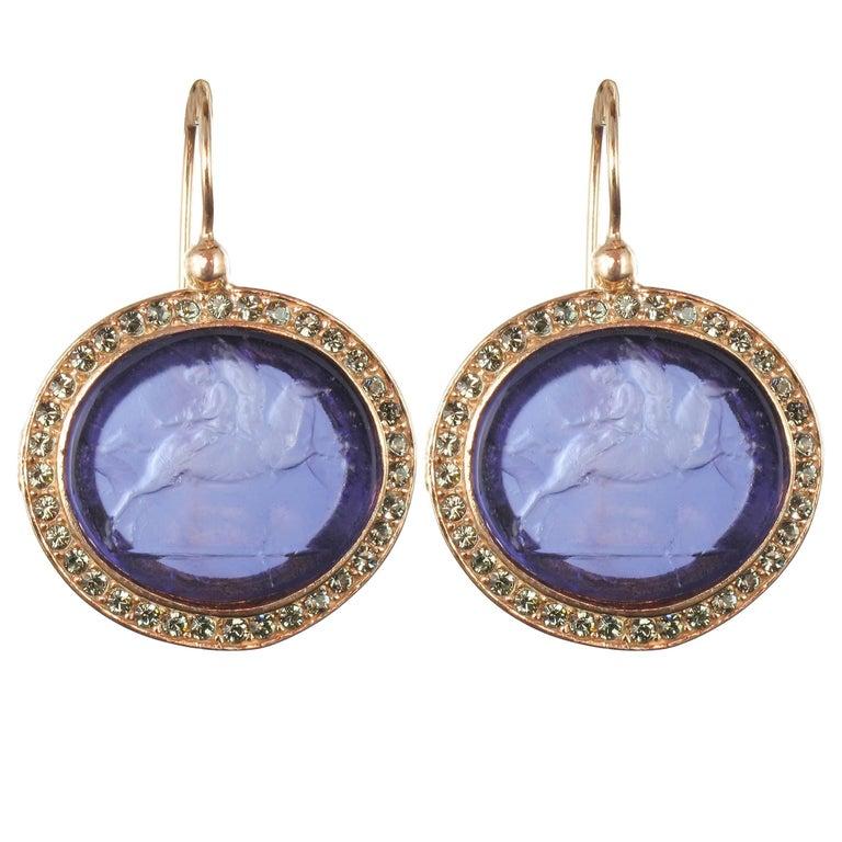 Italian Violet Intaglio Crystal Vermeil Drop Earrings