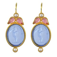 Italian Crystal Pearl Blue Intaglio Vermeil Drop Earrings