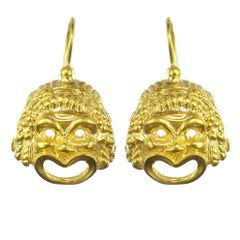 Italian Vermeil Grimacing Mask Drop Earrings