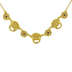 Italian Flower Crystal and Mask Vermeil Necklace