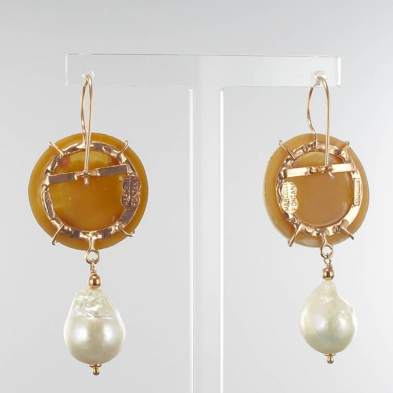 Women's Italian Shell Cameo Crystal and Baroque Pearl Earrings For Sale