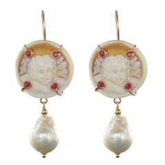 Italian Shell Cameo Crystal and Baroque Pearl Earrings