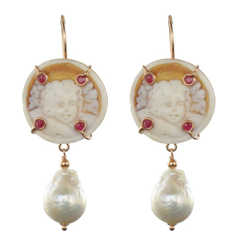 Italian Shell Cameo Crystal and Baroque Pearl Earrings For Sale