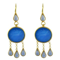 Italian Crystal Blue Intaglio Vermeil Pendant Earrings