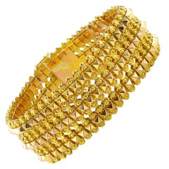 French 1900s Flexible Two Gold Bracelet