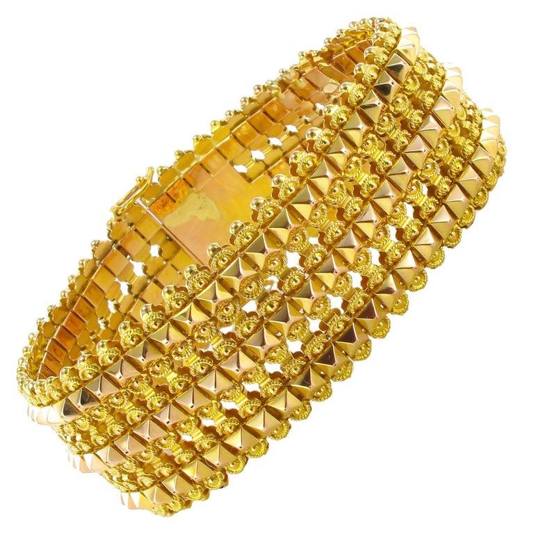 French 1900s Flexible Two Gold Bracelet