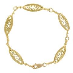 French 1960s Filigree Design 18 Carat Gold Bracelet