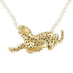 Pearl Necklace and Enamel Gold Panther Motif