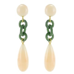 Coral Angel Skin Jade Yellow Gold Dangle Earrings
