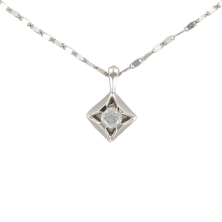 Modern 18 karats white gold solitaire 016 carat diamond pendant modern 18 karats white gold solitaire 016 carat diamond pendant necklace for sale aloadofball Images