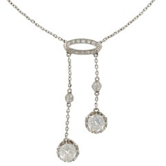 French Belle Époque 2.06 Carat Diamond Pendant Chain Neglige Necklace