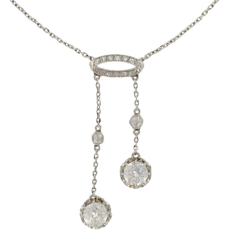 French Belle Époque 2.06 Carat Diamond Pendant Chain Neglige Necklace For Sale