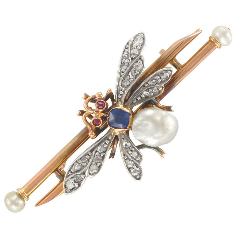 19th Century French Natural Pearl Sapphire Diamond Ruby Insect Brooch