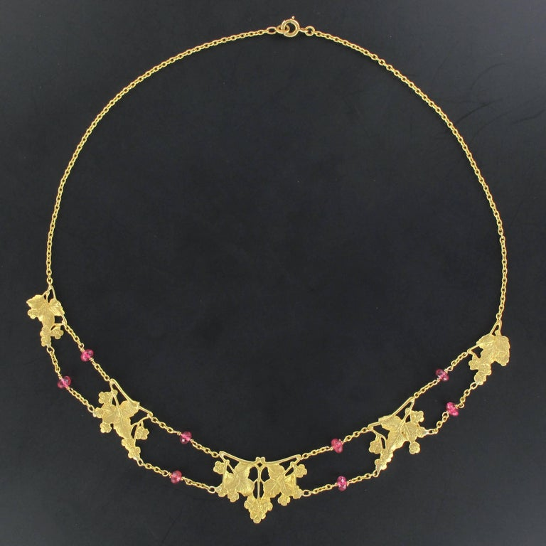 French 1950s 18 Carat Yellow Gold Pink Spinel Beads Drapery Necklace For Sale 1