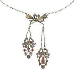 19th Century Antique Silver Hymenée Torches Negligé Chain Necklace