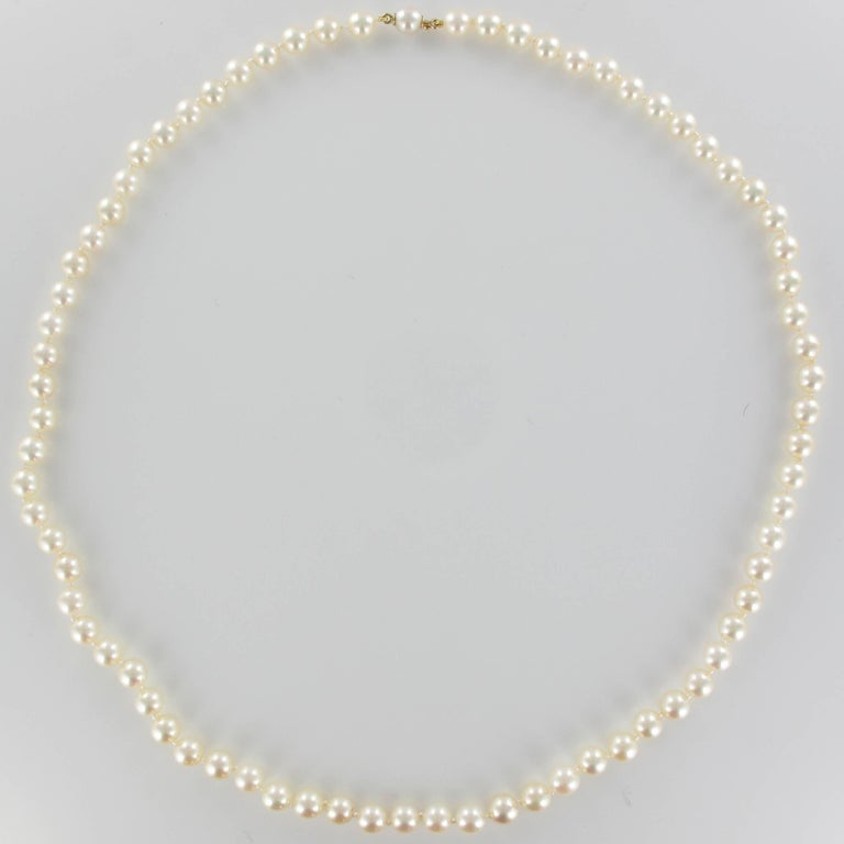 French 1950s Japanese Cultured Pearls Chocker Necklace In New Condition For Sale In Poitiers, FR