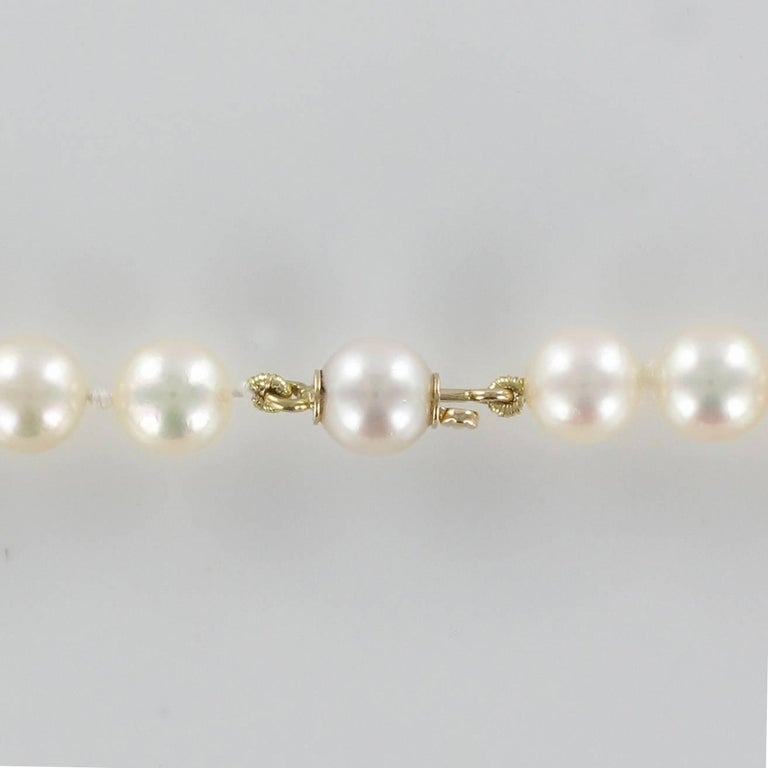French 1950s Japanese Cultured Pearls Chocker Necklace For Sale 1