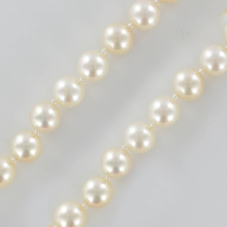 Women's French 1950s Japanese Cultured Pearls Chocker Necklace For Sale