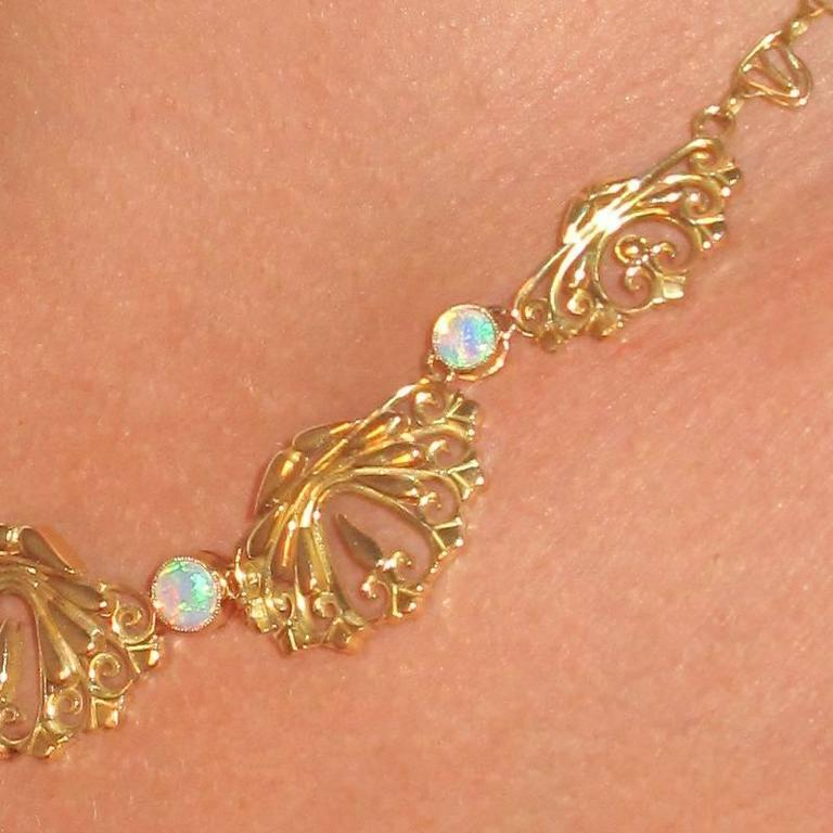 Art Nouveau 1900s French Opal Gold Drapery Necklace  For Sale